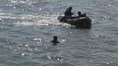 Diver special team rescue mission military force tactical action boarding boat  Stock Footage