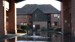 The English floods 2014 (flooded court yard) - stock footage
