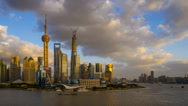 Stock Video Footage of Shanghai, Timelapse Day to Night, Pudong Skyline across Huangpu River