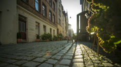 Evening sun timelapse in old street of historic city Ulm 4k Stock Footage