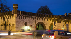Historic gate Ehinger Tor in Ulm time lapse with traffic 4k Stock Footage