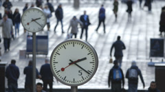 Canary Wharf, London - Six Public Clocks - stock footage