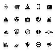 General useful icons with reflect on white background Stock Illustration