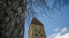 Historic monument Gänsturm in Ulm time lapse 4k Stock Footage