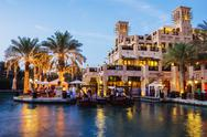 Stock Photo of night view of madinat jumeirah hotel