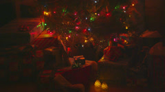Presents Under Christmas Tree, Low Light Stock Footage