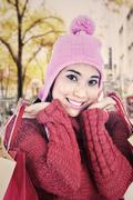 sweet woman dressed for winter - stock photo