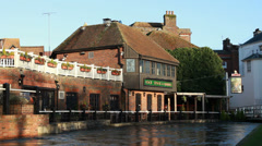 The English floods 2014 (water rising next to pub) Stock Footage