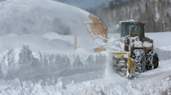 Snow removal snowblower mountain road HD 2310 Stock Footage