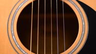 Stock Video Footage of Sound Board of Acoustic Guitar, Closeup