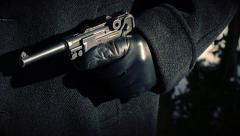 Luger Pistol reveal (WWII) - Gestapo Stock Footage