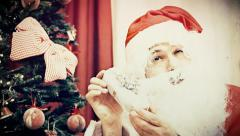 Christmas Eve Santa Claus showing gifts antique Stock Footage