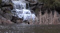 Waterfall Lake - 01 - Cascade Rock, Stream, Rocks, Grass, Pond Stock Footage