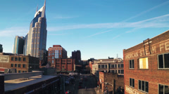 Stock Video Footage of Nashville 2nd Avenue Overhead Street Blue Sky HD