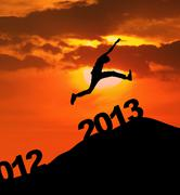 2013 silhoutte jump new year - stock illustration