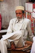Indian man sitting at sadar market, jodhpur, india Stock Photos