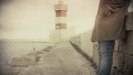 Stock Video Footage of Lighthouse man standing antique
