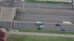 Traffic on I55 looking down from the St Louis Arch Stock Footage