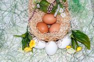 Stock Photo of fresh eggs for the feast of easter.