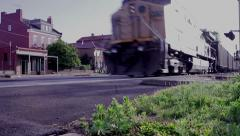 Train Passing By Caboose Stock Footage