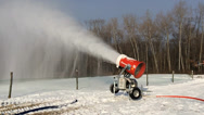 Stock Video Footage of Snowmaking is the production of snow on ski slopes.