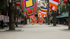 Group of Asian people attend folk festivals - stock footage