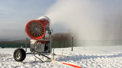 Snowmaking is the production of snow on ski slopes. Stock Footage