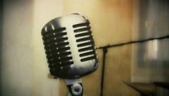 Vintage microphone antique Stock Footage
