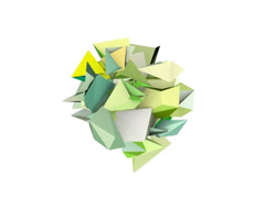 3d abstract green spiked shape on white - stock footage