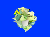 Stock Video Footage of 3d abstract green spiked shape on blue