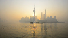 China, Shanghai, Skyline of the Pudong Financial District across Huangpu River Stock Footage