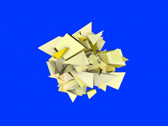 Stock Video Footage of 3d abstract yellow spiked shape on blue