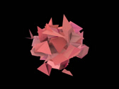 Stock Video Footage of 3d abstract red pink spiked shape on black
