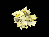 Stock Video Footage of 3d abstract yellow spiked shape on black