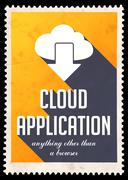 Cloud Application on Yellow in Flat Design. - stock illustration