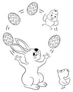 easter bunny juggling with easter eggs and a chick - stock illustration