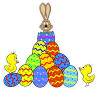 easter bunny hatching from an egg - stock illustration