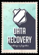Stock Illustration of Data Recovery on Blue in Flat Design.