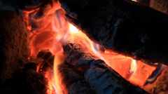 Burning wood, campfire macro video Stock Footage