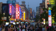 Stock Video Footage of China, Shanghai, Huangpu District, East Nanjing Road TIMELAPSE