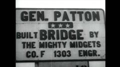 WW2 - Patton 16 - Visiting Bridge Stock Footage