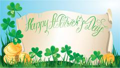 holiday card with calligraphic words happy st. patrick`s day. old scroll, sha - stock illustration