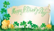 Stock Illustration of holiday card with calligraphic words happy st. patrick`s day. old scroll, sha