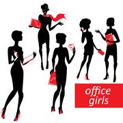 Set of fashionable business girls silhouettes on a white background Stock Illustration