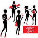 Stock Illustration of set of fashionable business girls silhouettes on a white background