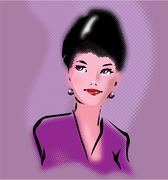 Retro elegant woman portrait in pop art style Stock Illustration