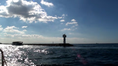 Sealight enter Istanbul harbor HD Stock Footage