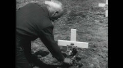 WW2 - Patton 19 - At Grave - Cheering Athletes Stock Footage