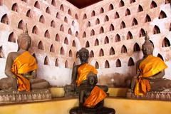 Buddha image at wat si saket in vientiane, laos. Stock Photos