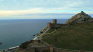 Stock Video Footage of Aerial View: Soldaia Castle (Genoese fortress) near Sudak, Crimea, Ukraine